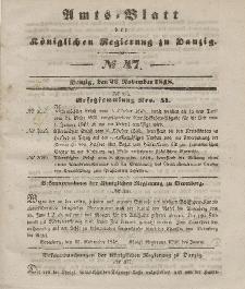 Amts-Blatt der Königlichen Regierung zu Danzig, 22. November 1848, Nr. 47