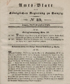 Amts-Blatt der Königlichen Regierung zu Danzig, 6. Dezember 1848, Nr. 49