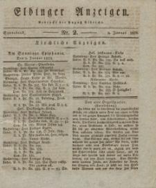Elbinger Anzeigen, Nr. 2. Sonnabend, 5. Januar 1828