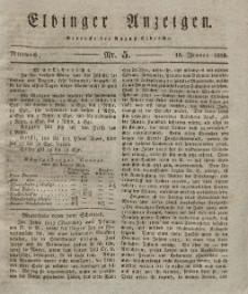 Elbinger Anzeigen, Nr. 5. Mittwoch, 16. Januar 1828