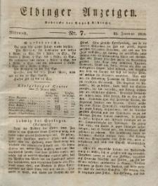 Elbinger Anzeigen, Nr. 7. Mittwoch, 23. Januar 1828