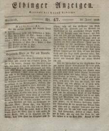 Elbinger Anzeigen, Nr. 47. Mittwoch, 11. Juni 1828