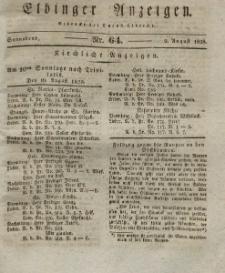 Elbinger Anzeigen, Nr. 64. Sonnabend, 9. August 1828
