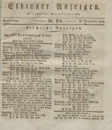 Elbinger Anzeigen, Nr. 94. Sonnabend, 22. November 1828