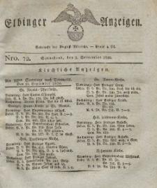 Elbinger Anzeigen, Nr. 72. Sonnabend, 9. September 1826