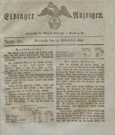 Elbinger Anzeigen, Nr. 91. Mittwoch, 15. November 1826