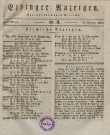 Elbinger Anzeigen, Nr. 3. Sonnabend, 10. Januar 1829
