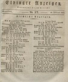 Elbinger Anzeigen, Nr. 17. Sonnabend, 28. Februar 1829