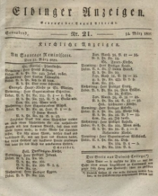 Elbinger Anzeigen, Nr. 21. Sonnabend, 14. März 1829