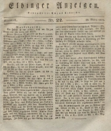 Elbinger Anzeigen, Nr. 22. Mittwoch, 18. März 1829
