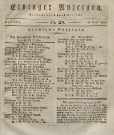 Elbinger Anzeigen, Nr. 29. Sonnabend, 11. April 1829