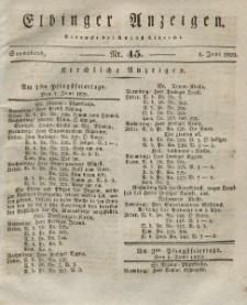 Elbinger Anzeigen, Nr. 45. Sonnabend, 6. Juni 1829