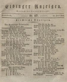 Elbinger Anzeigen, Nr. 47. Sonnabend, 13. Juni 1829