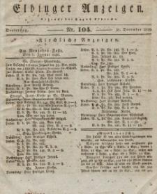 Elbinger Anzeigen, Nr. 104. Donnerstag, 31. Dezember 1829
