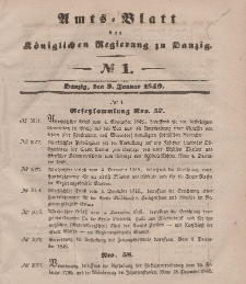 Amts-Blatt der Königlichen Regierung zu Danzig, 3. Januar 1849, Nr. 1