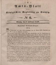 Amts-Blatt der Königlichen Regierung zu Danzig, 7. Februar 1849, Nr. 6