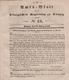 Amts-Blatt der Königlichen Regierung zu Danzig, 28. März 1849, Nr. 13