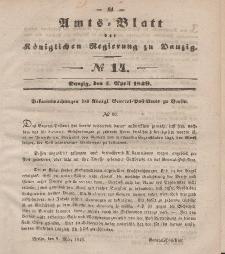 Amts-Blatt der Königlichen Regierung zu Danzig, 4. April 1849, Nr. 14