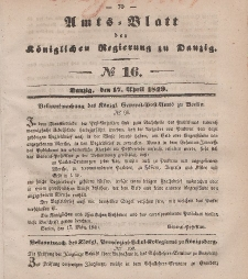 Amts-Blatt der Königlichen Regierung zu Danzig, 17. April 1849, Nr. 16