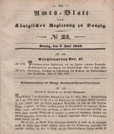 Amts-Blatt der Königlichen Regierung zu Danzig, 6. Juni 1849, Nr. 23