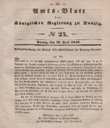 Amts-Blatt der Königlichen Regierung zu Danzig, 13. Juni 1849, Nr. 24