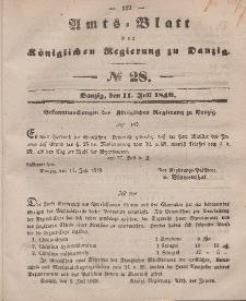Amts-Blatt der Königlichen Regierung zu Danzig, 11. Juli 1849, Nr. 28