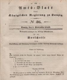 Amts-Blatt der Königlichen Regierung zu Danzig, 5. September 1849, Nr. 36