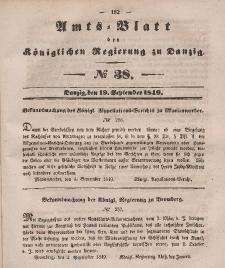Amts-Blatt der Königlichen Regierung zu Danzig, 19. September 1849, Nr. 38