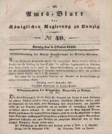 Amts-Blatt der Königlichen Regierung zu Danzig, 3. Oktober 1849, Nr. 40