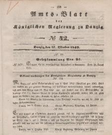 Amts-Blatt der Königlichen Regierung zu Danzig, 17. Oktober 1849, Nr. 42