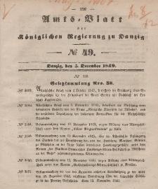 Amts-Blatt der Königlichen Regierung zu Danzig, 5. Dezember 1849, Nr. 49