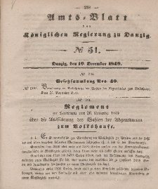 Amts-Blatt der Königlichen Regierung zu Danzig, 19. Dezember 1849, Nr. 51
