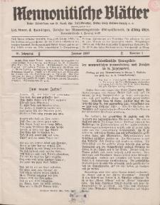 Mennonitische Blätter, Januar 1937, nr 1, Jahrgang 84.