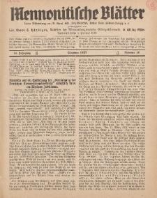 Mennonitische Blätter, Oktober 1937, nr 10, Jahrgang 84.