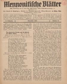 Mennonitische Blätter, November 1937, nr 11, Jahrgang 84.