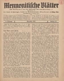 Mennonitische Blätter, Dezember 1937, nr 12, Jahrgang 84.