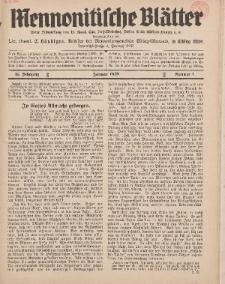 Mennonitische Blätter, Januar 1938, nr 1, Jahrgang 85.