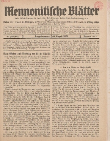 Mennonitische Blätter, Juli / August 1938, nr 7 / 8, Jahrgang 85.