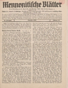 Mennonitische Blätter, Oktober 1938, nr 10, Jahrgang 85.