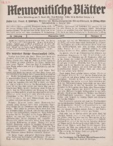 Mennonitische Blätter, November 1938, nr 11, Jahrgang 85.