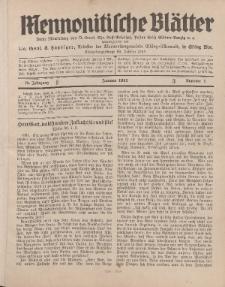 Mennonitische Blätter, Januar 1931, nr 1, Jahrgang 78.