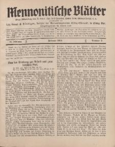 Mennonitische Blätter, Februar 1931, nr 2, Jahrgang 78.