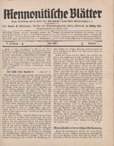 Mennonitische Blätter, Juli 1931, nr 7, Jahrgang 78.