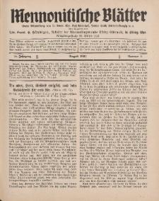 Mennonitische Blätter, August 1931, nr 8, Jahrgang 78.