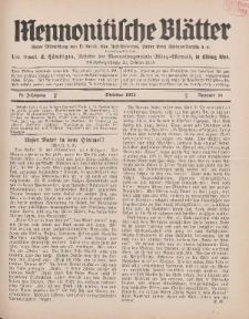Mennonitische Blätter, Oktober 1931, nr 10, Jahrgang 78.