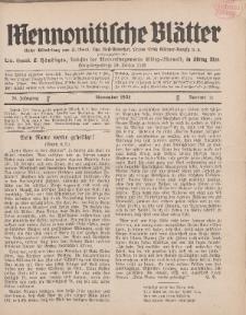 Mennonitische Blätter, November 1931, nr 11, Jahrgang 78.