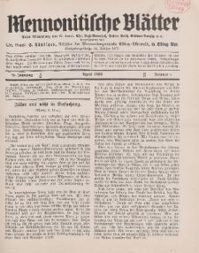 Mennonitische Blätter, April 1932, nr 4, Jahrgang 79.