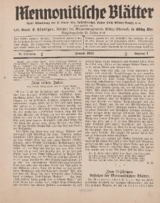 Mennonitische Blätter, Januar 1929, nr 1, Jahrgang 76.