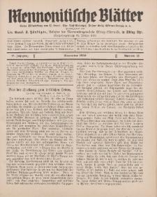 Mennonitische Blätter, November 1930, nr 11, Jahrgang 77.