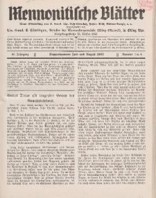 Mennonitische Blätter, Juli / August 1933, nr 7 / 8, Jahrgang 80.